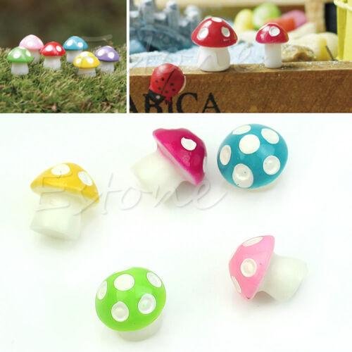 Mini Mushroom Toadstool Colored Miniature Fairy Garden Terrarium Figurine Decor