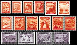 Osterreich-1947-Landschaftsbilder-ANK-847-862-komplett-1A-Qualitaet
