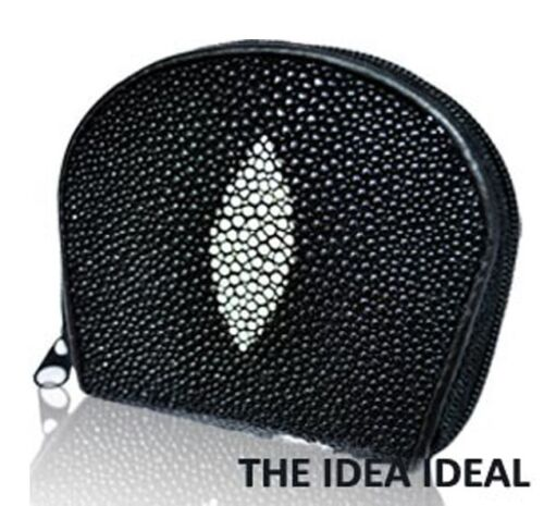 AUTH 100/% BLACK Genuine Stingray skin leather mini COIN WALLET PURSE NEW AAA+++
