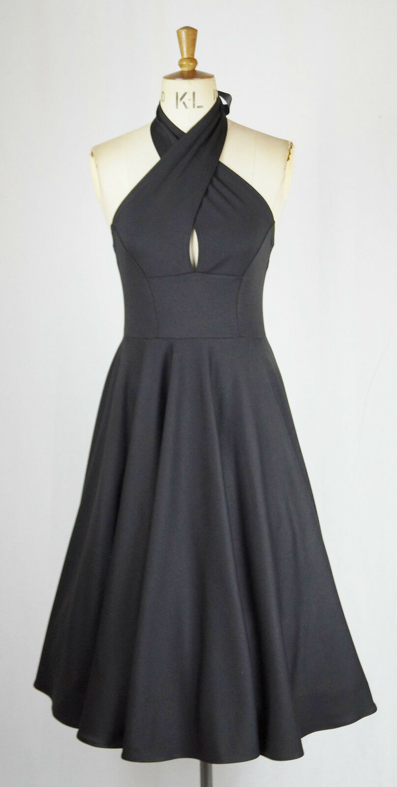 Baylis & Knight schwarz Cross Neck Sexy Halter CIRCLE Flarot Skirt Dress 50's
