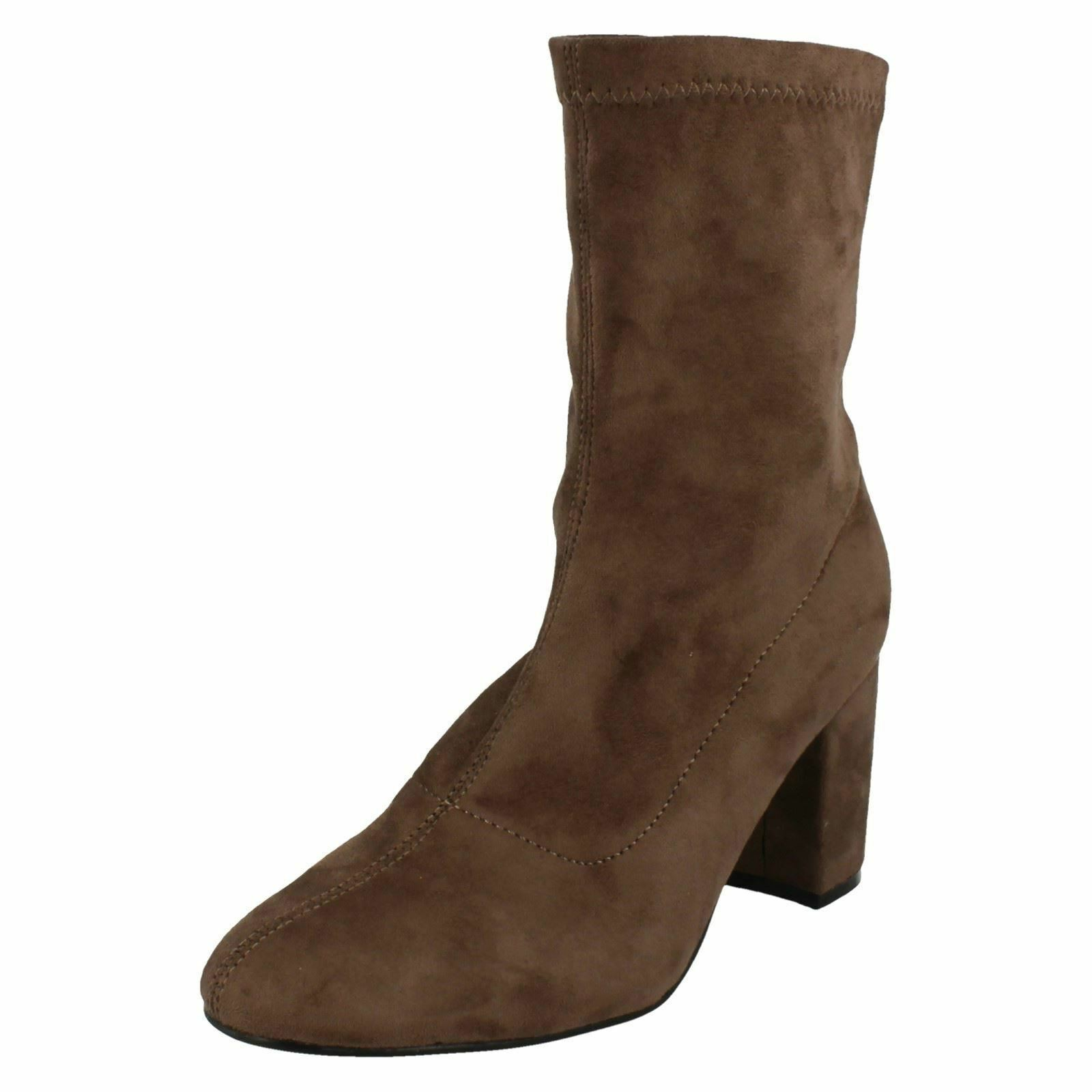 LADIES ANNE MICHELLE MID BLOCK HEEL PULL ON ANKLE HIGH STRETCHY BOOTS F50681