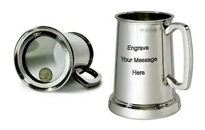 NEW-Personalised-1-Pint-Shilling-Polished-Pewter-Tankard-Any-Message-Engraved