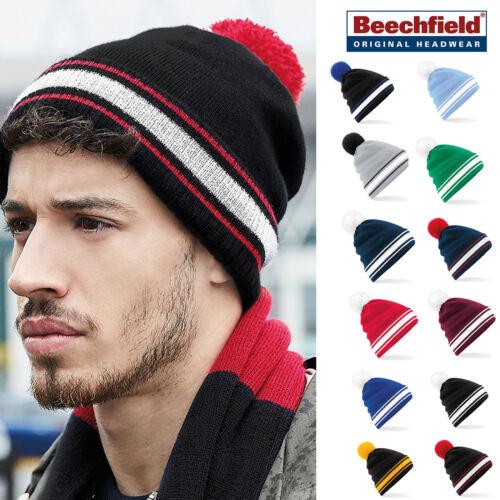 Striped cuff warm winter hat pom pom for men//women Beechfield Stadium Beanie