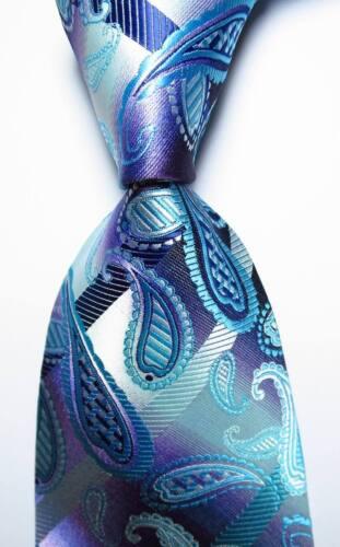 New Classic Paisley Light Blue Purple JACQUARD WOVEN 100/% Silk Men/'s Tie Necktie