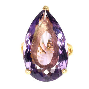 Handmade-Pear-Amethyst-24-32ct-Natural-Gold-Plate-925-Sterling-Silver-Ring-Sz-8
