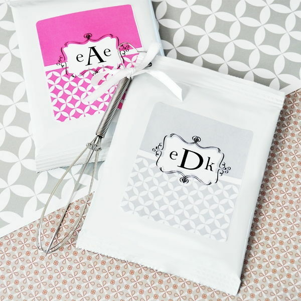 72 Personalized Mod Monogram Wedding Hot Cocoa Mix Pouches Wedding Favors