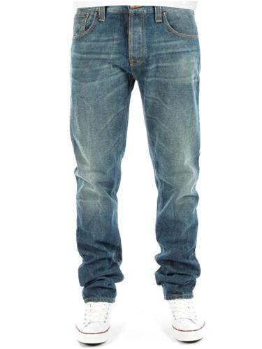 w30 w31 NUDIE Homme Regular Fuselé Fit Jeans Sharp Bengt Green Bleachw28