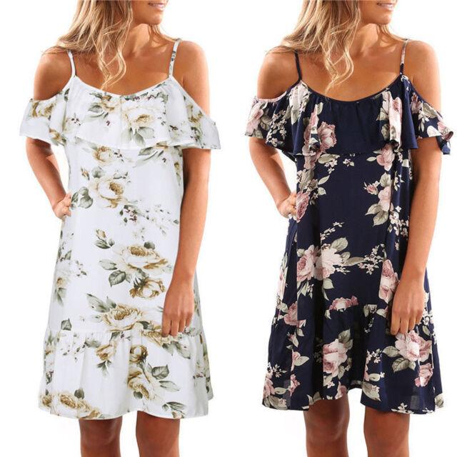Women Off Shoulder Floral Holiday Party Short Mini Dress Summer Beach Sundress