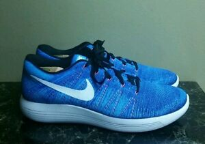 Nike LunarEpic Low Flyknit Blue White Mens Running Shoes 843764-401 ... 3b018f7dc102