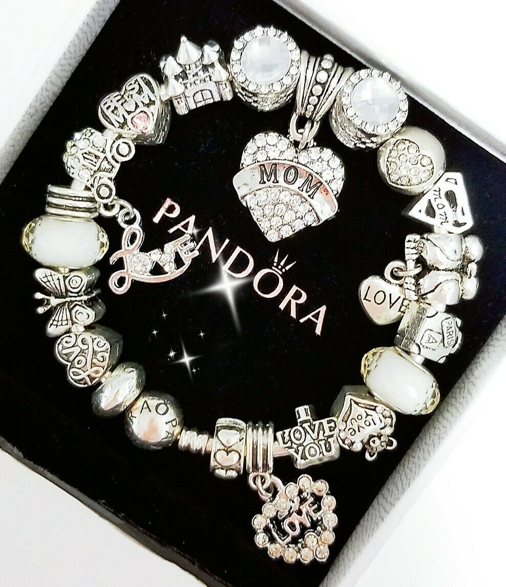 Authentic Pandora Bracelet Silver Bangle With Love Wife Mom European Charms Shopping Com