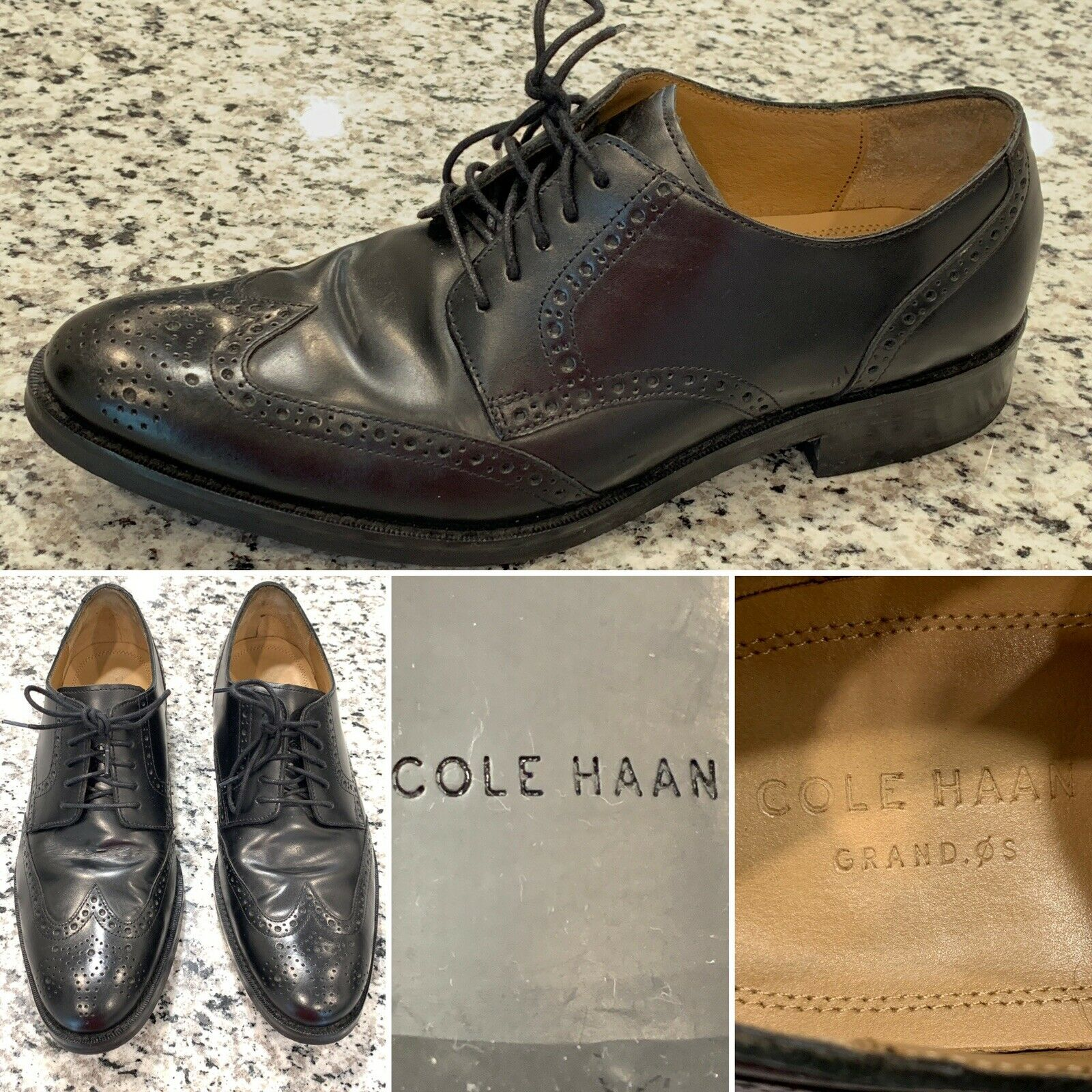 COLE HAAN GRAND OS Mens Black Dress shoes Dress Lace Up Wingtip Oxfords Size 10M