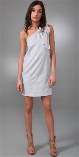 SEE BY CHLOE CHLOE CHLOE bluee Cotton Linen Asymmetrical One Shoulder Bow Dress 40   4 b1e69b