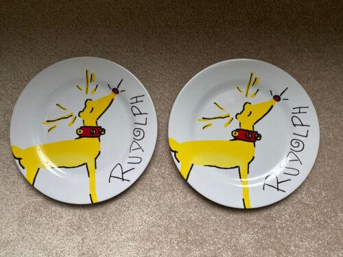 """Pottery Barn Kids ~SANTA'S REINDEER~ 11"""" MELAMINE Dinner PLATE ~RUDOLPH Set 2"""