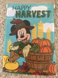 New Disney Mickey Mouse Happy Harvest Garden Flag Ebay