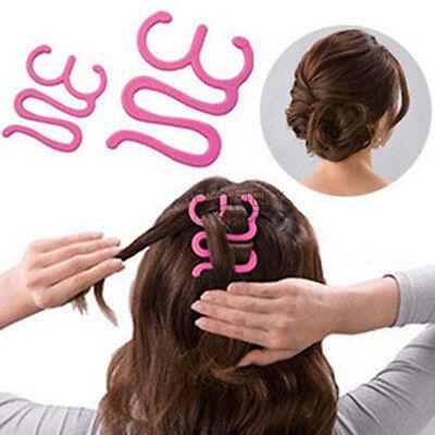 Girls Magic Pink Hair Tie Twist Braid Tool Holder Clip Hair Style Maker Hair pin