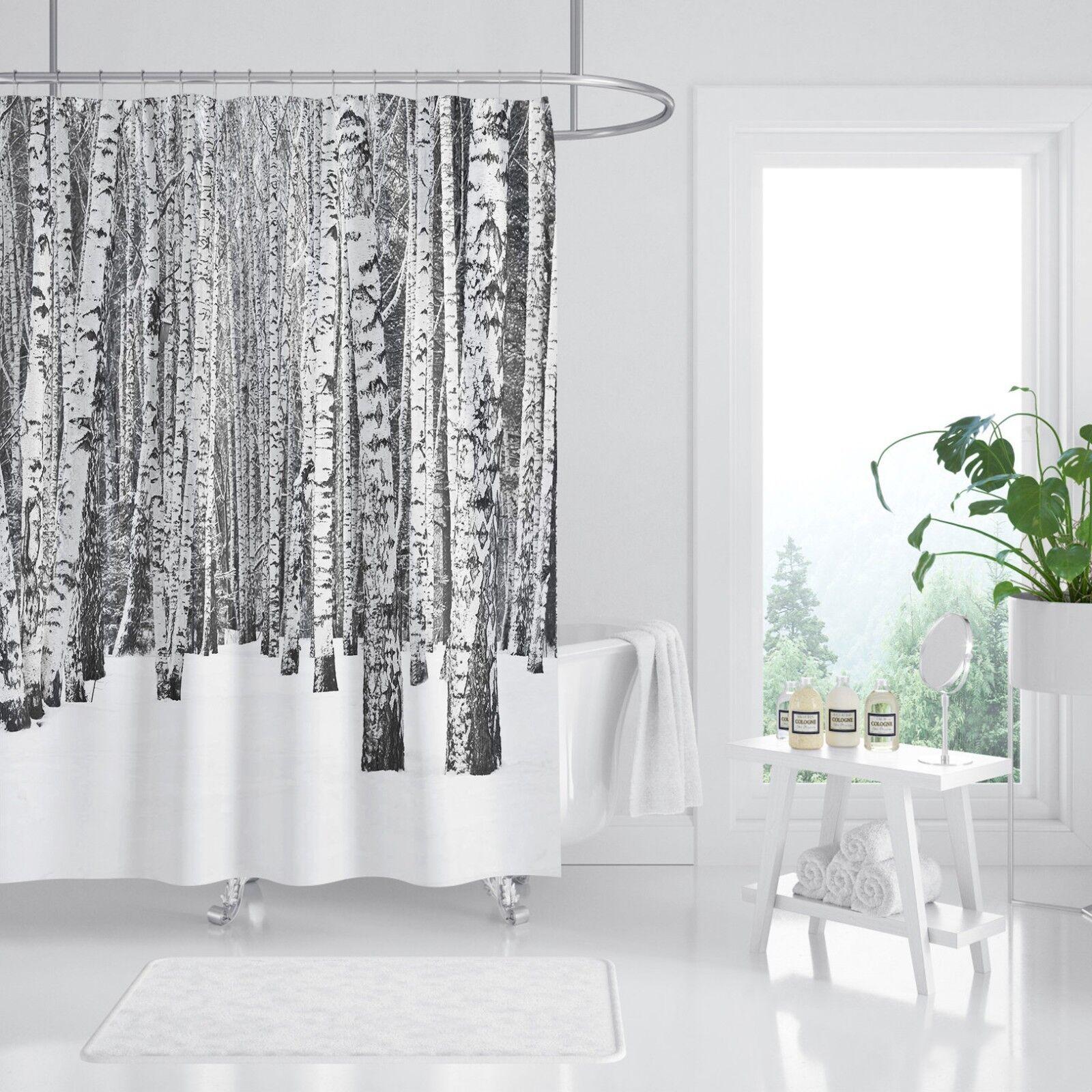 3D Wald Baum 25 Duschvorhang Wasserdicht Faser Bad Daheim Windows Toilette DE
