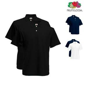 fab1287e Fruit of the Loom Twin Pack Polo Shirt Plain Short Sleeve Mens Tee T ...