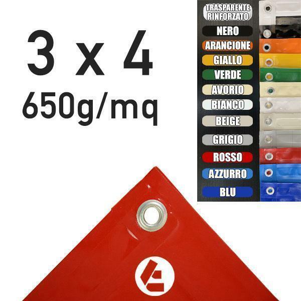 4 x 3 m telo PVC 650 g mq per copertura gazebo garage piscina autoparco auto mot