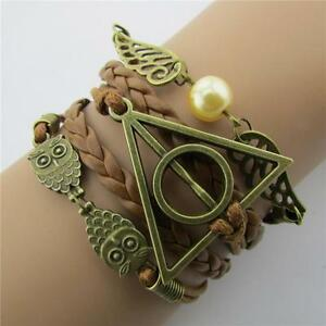 Vintage-Harry-Potter-Bracelet-Retro-Snitch-Angel-Wings-Braided-Red-Leather