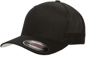 323ee2969318cc Flexfit 6511 Black Fitted Trucker Mesh Hat Size XL/XXL (Black Only ...