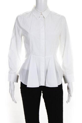 Alexander McQueen Womens Cotton Peplum Button Up S