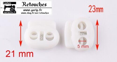 Serre cordon 2 trous en plastique blanc 50 pcs 5 mm autobloqueurs arrêt cordon