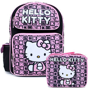 Sanrio-Hello-Kitty-16-034-Large-School-Backpack-Lunch-Bag-2pc-Set-Black-Pink-Stamps