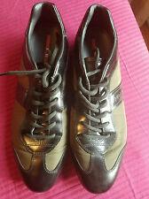 PRADA Fashion Sneaker Athletic Black/moss green Women's Size 40 EU, Nylon