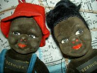PAIR labeled Norah Wellings BLACK Island, vintage dolls, Lulah & Sammy
