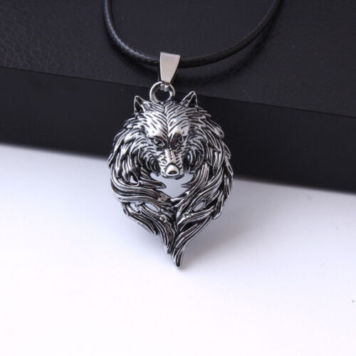 Vintage Mens Retro Stainless Steel Wolf Animal Head Pendant Necklace Chain Gift