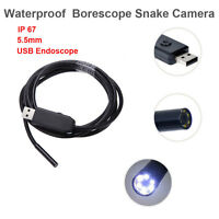 2m USB Inspection Borescope Endoscope Scope CCTV 6pcs LED 5.5mm Snake Camera