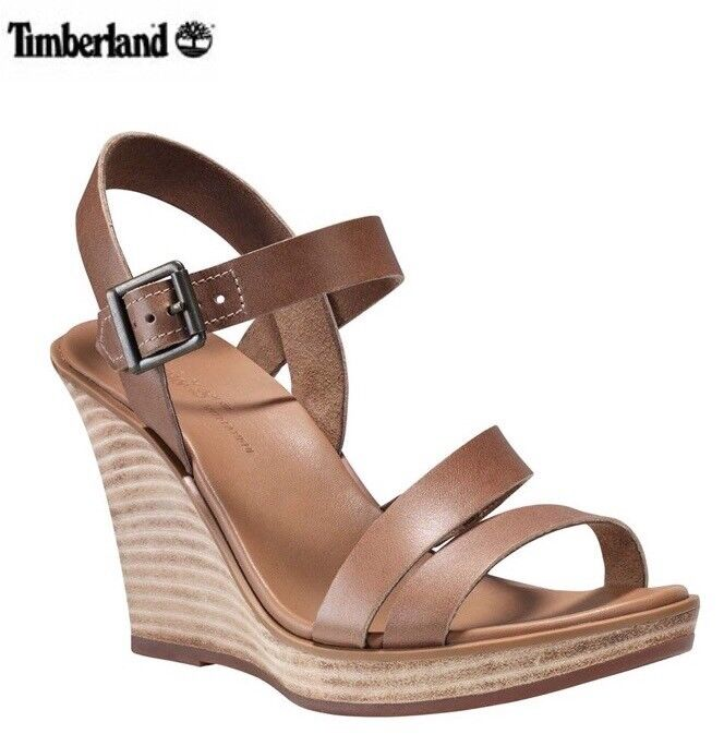Sofft Corinth Womens Gold Metallic Leather Wedge Heel Sandals size 6.5