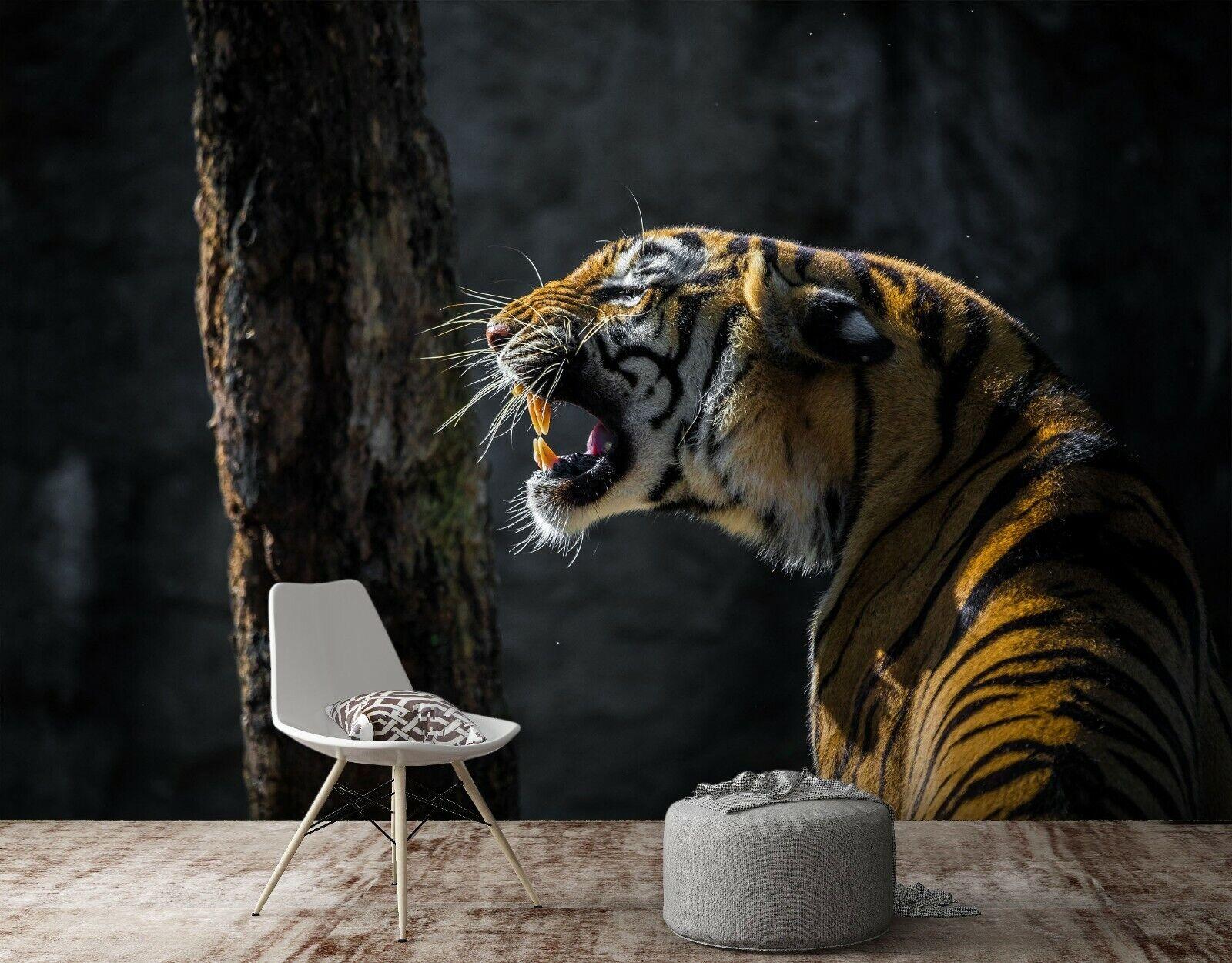 3D Tiger Bäume M98 Tier Tapete Wandbild Selbstklebend Abnehmbare Angelia