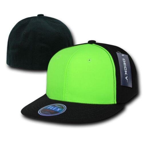DECKY Blank Retro Neon Flat Bill Flex Fit Fitted Baseball Hats Caps