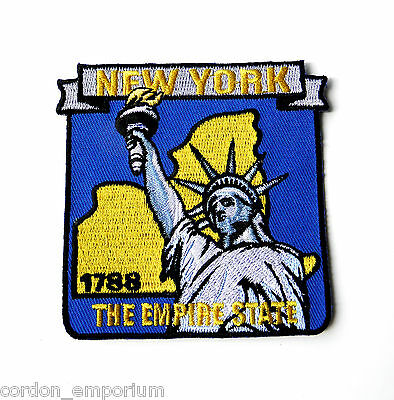 US NEW YORK STATE NAME MAP EMBROIDERED PATCH