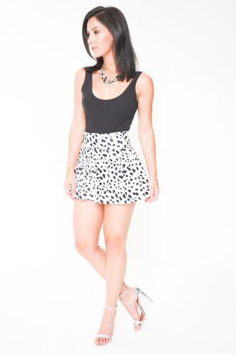 High Waist Mini Skirt Pleated Dalmatian Print Short Skirt Party Spotty Skirt 070