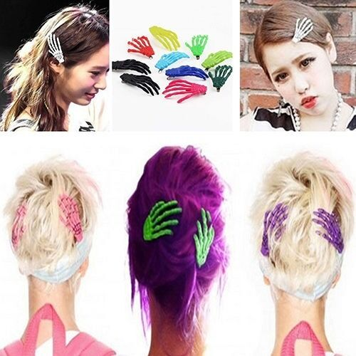 7 Pcs Creepy Skeleton Hand Bone Hair Clip Hairpin for Women Girls Sanwood Mixed