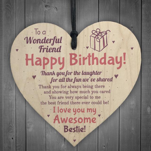 Friendship Best Friend Plaque Happy Birthday Heart Gift Mum Colleague Thank You