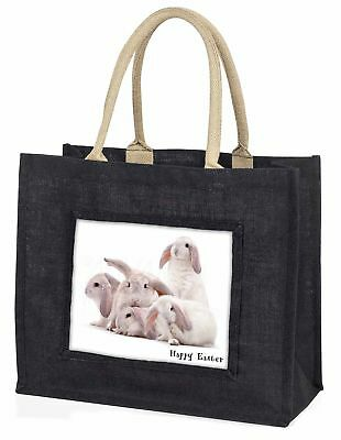 weiß Kaninchen 'Frohe Ostern' große schwarze Einkaufstasche WEIHNACHTEN Prese ,
