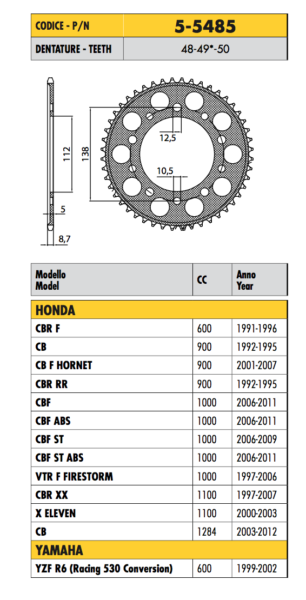 5-5485 Corona Ergal Passo 530 Honda Vtr F Firestorm 1000 2004 2005 2006