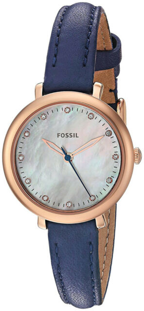 Women s Fossil Jacqueline Navy Blue Leather Strap Gold Tone Watch ES4083 8f38b57f51