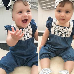 33436ebcd Summer Newborn Baby Girl Denim Romper Jumpsuit Bodysuit Outfits ...