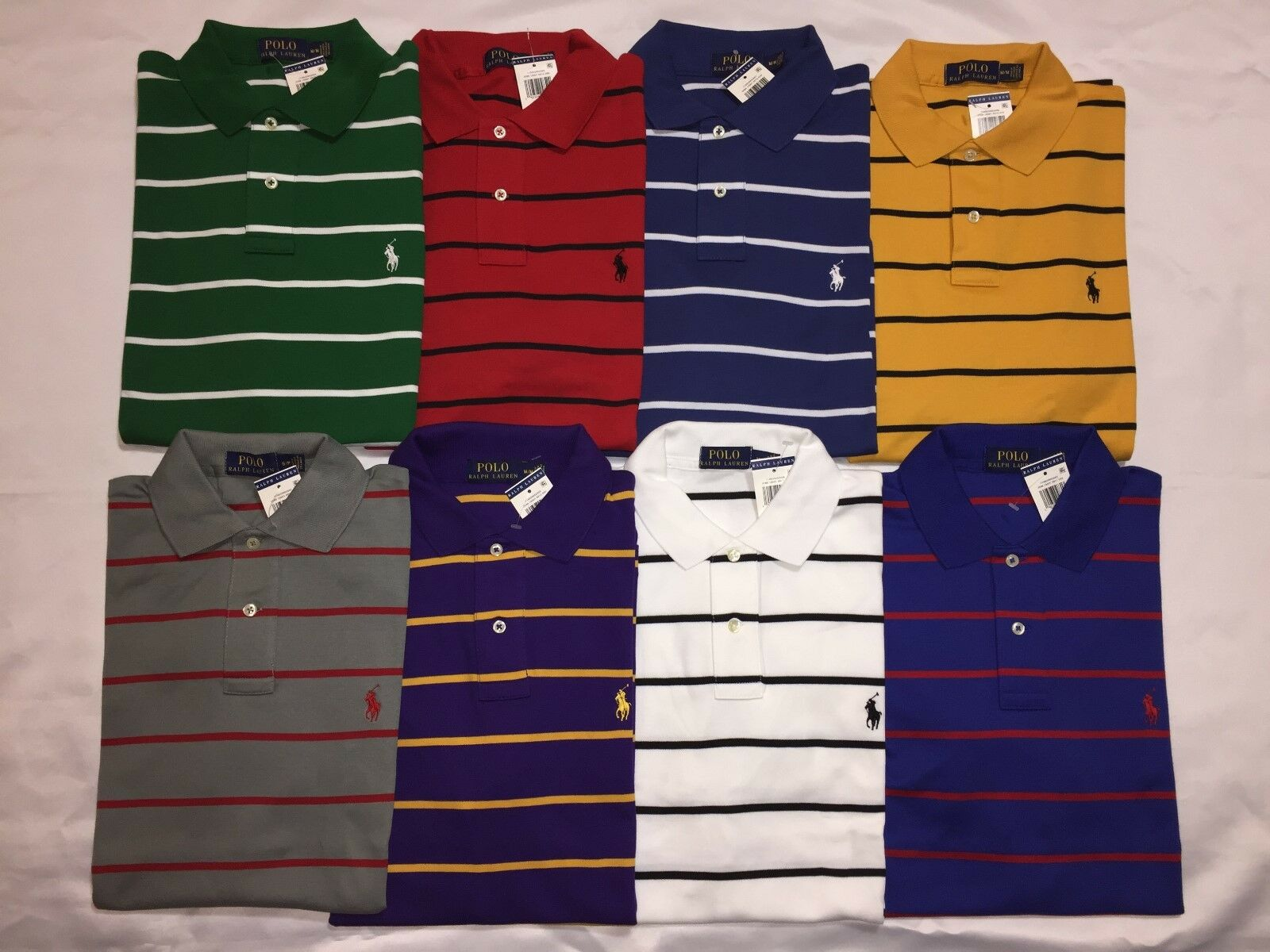 NEW WITH TAGS POLO RALPH LAUREN MEN'S CLASSIC FITSTRIPES POLO SHIRT-VALUE-