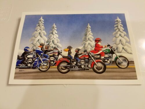 HARLEY DAVIDSON CHRISTMAS CARDS #X430 SANTA /& HIS BUDDIES RIDING HARLEYS 10