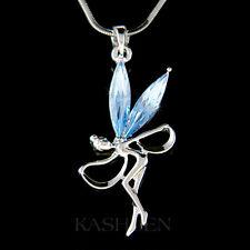 w Swarovski Crystal ~Blue Fairy Tinkerbell Tinker ANGEL Dancer Necklace Jewelry