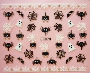 Halloween-Nail-Art-Stickers-Transfers-Black-White-Spiders-Web-Ghost-Bats-Lace-3A