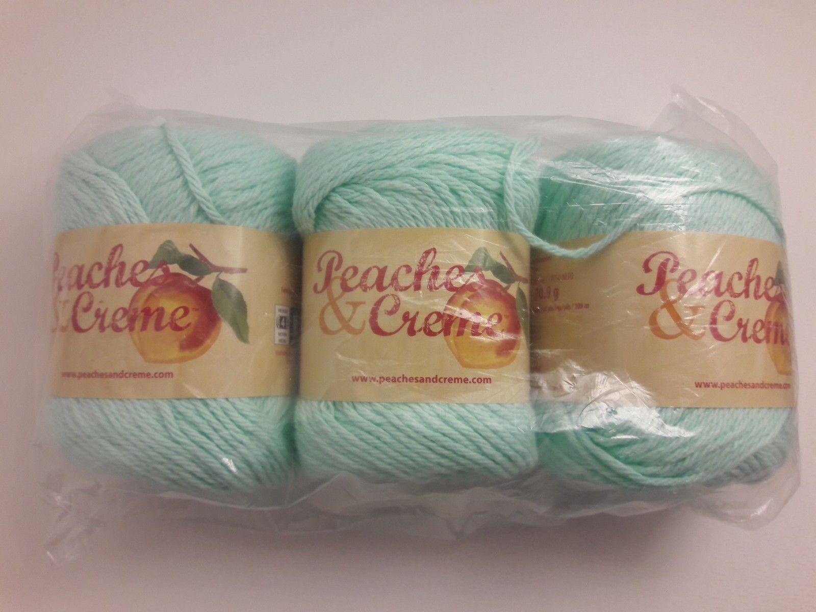 3 Skeins Yarn Peaches Creme Cream Cotton Gold 2.5 oz 11605 Washcloth