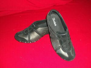 Skechers BIKERS CURBED Ladies Womens Suede Leather Memory Foam Trainers Black