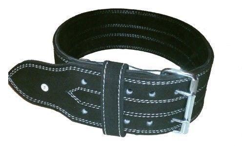 Ader Fitness 4  10MM Negro Cuero Cinturón Cinturón De Doble Clavijas de alimentación X-Large