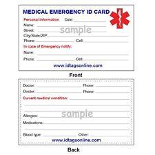 100  Medical Emergency wallet cards for Medical Alert Id bracelets and Dog Tags.